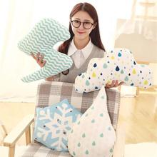 2016 Winter New Style 1Pc Approx 40cm cloud Plush Toys Cloth Snowflake pillow Cushion Lightning Cloth Doll Cute Christmas Gift
