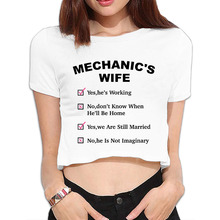 Mechanic's Wife Bare Midriff Hip Hop Crop Tops Sexy T shirt For Women Tee For Junior(China)