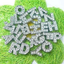 10pcs English Alphabet Rhinestone 8mm A-O Slide Charms letters DIY Accessories fit 8mm Wristband & Bracelet & pet collar(China)