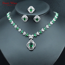 Wedding Silver Color Green Crystal White CZ Necklace Earrings Ring For Women Fashion Bridal Jewelry Set USA Size 6/7/8/9(China)