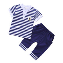 Striped Baby Boys Clothing Summer 2017 New Children Clothes Cotton Kids Boy Clothing Set Tshirts+Short Pants Kids Suit Set