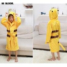 Winter Spring Children's Bathrobes 11 Colors Boy Girl Cartoon Animal Flannel Robe Pikachu Kids Hooded Bath Pajamas