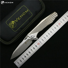 Kevin John VENOM 4 Wing M390 Titanium Flipper folding knife ceramic ball bearing camping hunting survival pocket knives EDC tool