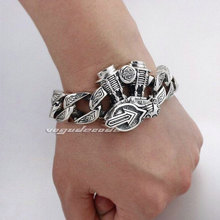 "Fashion Locomotive Engine Bracelet Solid 925 Sterling Silver Cool Men's Biker Motorcycle Engine Bracelet 8H004 -- 7.5""~11.2"""