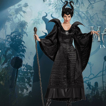 Maleficent Costume Adult Women Halloween Witch Cosplay Fairy Tale Sleeping Beauty Curse Witchcraft Black Dress Horns Movie(China)
