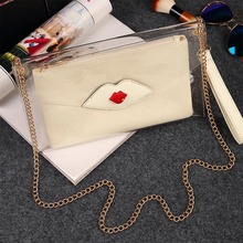 YJGJZ HOUSE Free Shipping 2017 Summer Clear Transparent women bag girls Party purse clutch small chain Messenger Bag For Woman