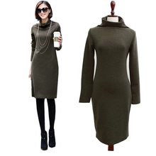 2016 Spring New woman nice feeling Cotton Wool Solid Turtleneck Straight Slim Casual dress Lady Black Dark Green Red vestidos