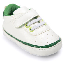 Green Edging White Baby Sneakers Shoes Boy Girl PU Leather Soft Sole Crib No-Slip For First Walkers Infant Toddler Newborn Kids(China)