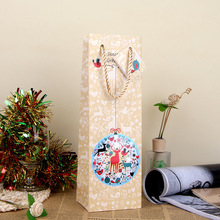 Christmas Snowman Paper Gift Bag Festive Party Decor Red Wine Bottle Bag Art UV Gift Wrap Package SD795