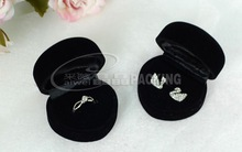 24pcs/lot Romantic Wedding Ring Box, Black Velvet Heart Shape Ring Box Jewelry Packaging Display Ring & Gift Box Free Shipping