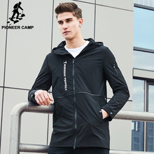 Pioneer Camp New autumn fashion brand jacket men windbreaker hoodie coat male top quality casual outwear for men AJK707003
