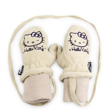 Lovely Children's Gloves Hello Kitty Plus Velvet Warm Ski Gloves Anti-Cold Outdoor Skiing Gloves Sportswear Skiing Gloves Luvas