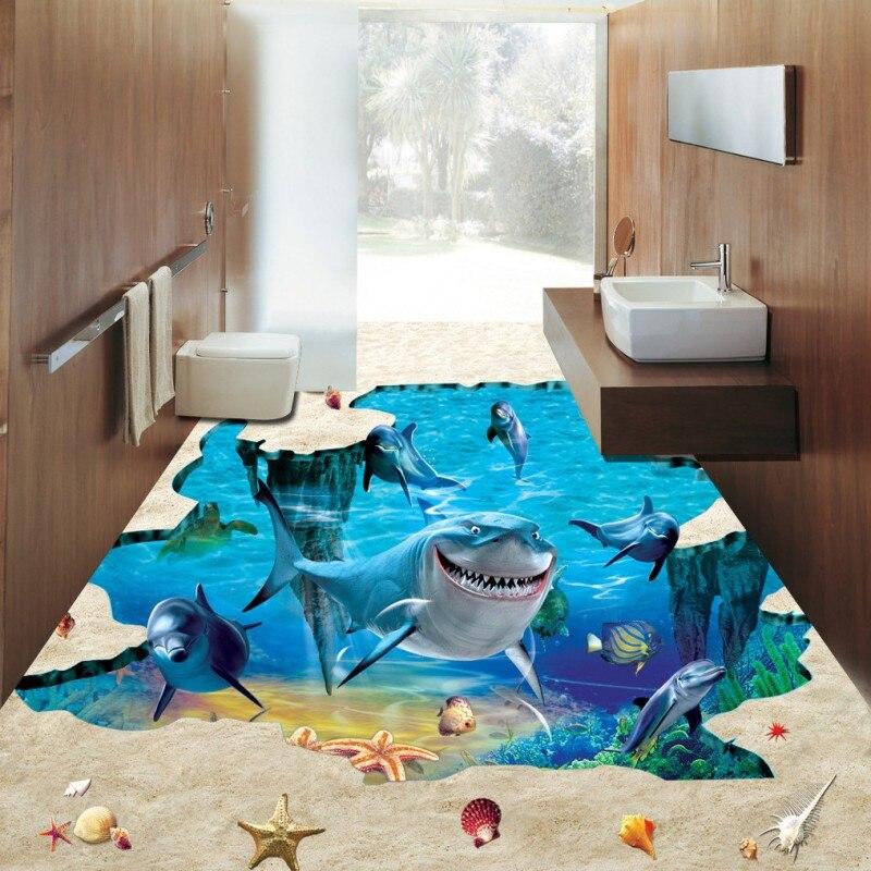 Free Shipping custom 3D Stereo Sea World Shark Dolphins flooring wallpaper lobby bedroom bookstore waterproof floor mural<br><br>Aliexpress