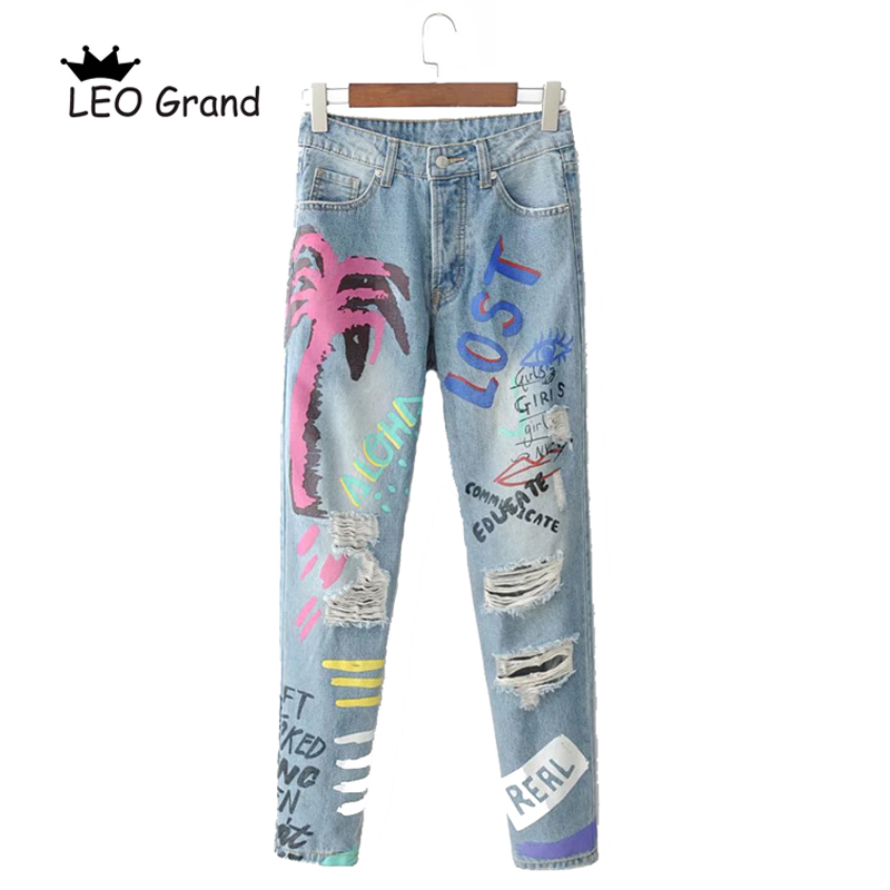 Vee Top light blue printing women long denim pants high waist skinny pencil jean female fashion 2018 trousers mujer 902067