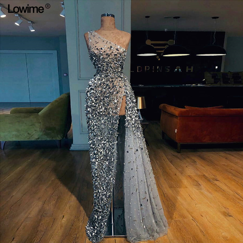 Custom Made A-line One-Shoulder Evening Dress 2018 With Heavy Beading Crystal Sequined Floor Length Evening Prom Gowns