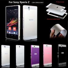 For soni Z case Fashion Luxury mobile phone Cases Metal Aluminum frame Hard plastic Back Cover case For Sony Xperia Z L36H C6603(China)