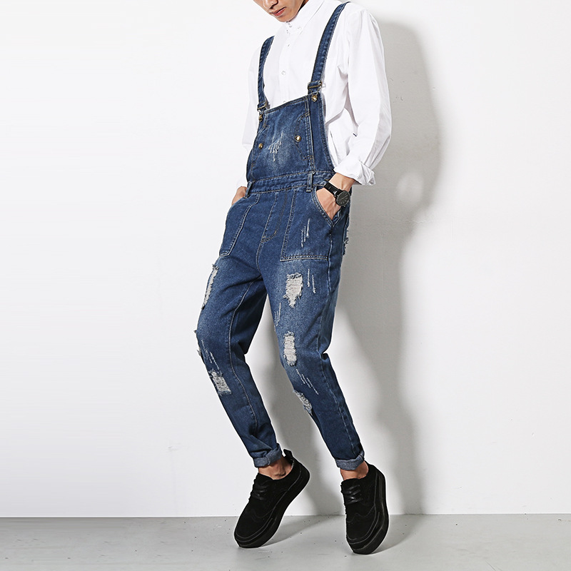 Men Jeans Jumpsuit Male Fashion Casual Denim Bib Overalls Harem Pants Hip-Hop Trousers JumpsuitÎäåæäà è àêñåññóàðû<br><br>