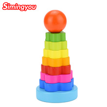 Simingyou Kids Toy Wooden Puzzle Stacking Ring Tower Educational Toys Rainbow Stack Up C01 Drop Shipping