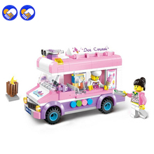 A toy A dream Girl Pink Ice Cream Car Blocks Toys Assembled Model Building Kits Car Blocks Toys Small Particle Educational Toys(China)