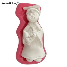New Arrival Cute Boy With Academic Dress Figure 3D Silicone Fondant Cake Mold Tools For Cake Decorating C505