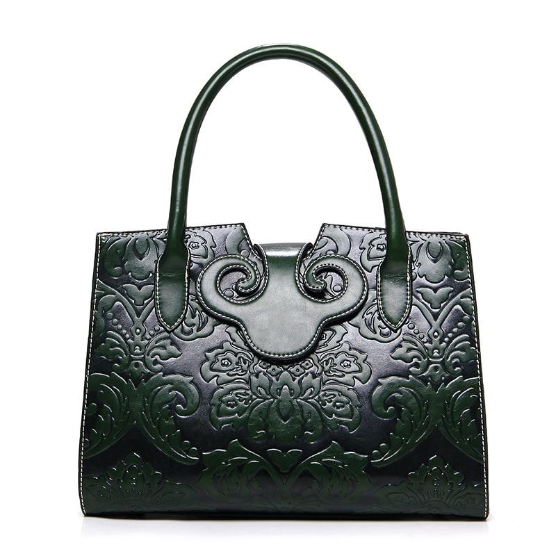 Leather Women Handbags Tote Bolsa Feminina Vintage Flowers Shoulder Crossbody Bags Designer Messenger Bags sac a main<br>