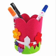 Baby Kids Educational DIY Craft Puzzle Kit Cute Creative Handmade Pen Container DIY Pencil Holder Kids Craft Toy Kits(China)