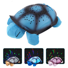 New Creative Turtle LED Night Light Luminous Plush Toys Music Star Lamp Projector Toys for Baby Sleep 4 Colors YZT0147(China)