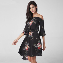 BUY LIFE 2017 women Vintage party flare sleeve short dress Off shoulder beach A word shoulder irregular chiffon summer vestido(China)