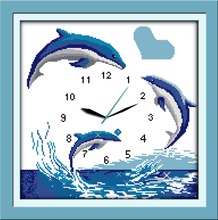 Innovation items needlework kit DIY home decoration counted cross stitch kit clock embroidery set - Blue dolphins