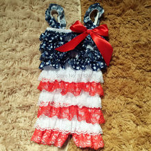 2016 Baby Clothing Wholesale Baby 4th Of July Romper Patriotic Day Outfit Infant Girl Rompers Multicolor Lace Romper  24Pcs/Lot