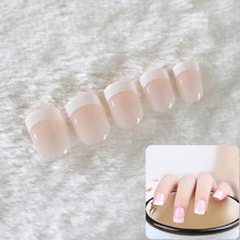 24Pcs Natural French Short False Nail Tips Classical Acrylic Glitter Design Patch Fake Nails 2017 Hot Manicure Art Sets(China)