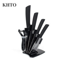 "KHTO Kitchen knives Ceramic Knives Accessories set 3"" Paring 4"" Utility 5"" Slicing 6"" chef Knife+Holder+Peeler Black Blade(China)"