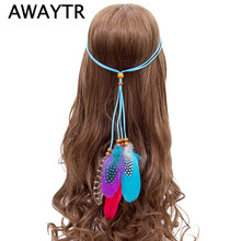 AWAYTR 2017 New Boho Style Feather Headwear Indian Beads Adjustable Feather Hair Accessories Women Halloween Head Band