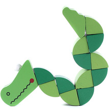 2016 Kids Crocodile Insert Animals Puzzle Toys Wooden Toys Baby Children Fingers Flexible Training Science Twisting Worm Toys
