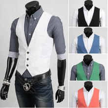 Men Slim Fit White Vest Men Male Suit Chaleco Men Gilet Pink Green Blue Black White Vest Coletes Masculinos Men Suite Veste