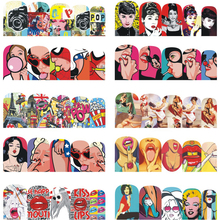 STZ 1 Sheet Water Transfer Sticker Nail Art Girl Sexy Women Nail Salon Retro Designs Decals Full Wrap Colorful Tips BN349-360