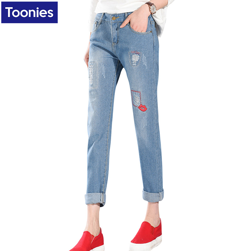 2017 New Fashion Embroidery Jeans Femme Denim Trousers Pantalon Femme Plus Size High Waist Ripped Jeans For Women GZ1720Одежда и ак�е��уары<br><br><br>Aliexpress