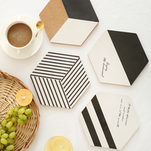 4pcs/set Simple cutlery mat original design hexagonal cork pot mats black and white cork placemat series of creative products(China)