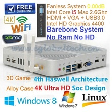 Barebone PC Industrial PC Mini Nettop Intel Core i5 4200U i3 5005U Broadwell Haswell Fanless System HTPC 4K HD VGA+HDMI Display