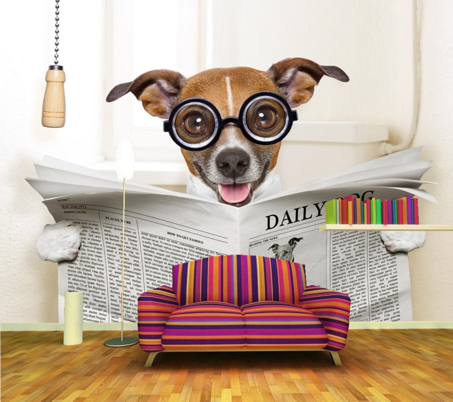Dogs Glasses Newspaper Animals Humor 3d wallpaper papel de parede, bar living room sofa TV background kids room custom murals<br>