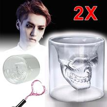 2X Crystal Skull Head Vodka Shot Whiskey Home Wine Beer Glasses Drinking Cup Clear wine cup champagne flutes A609