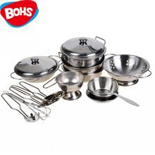 Stainless Steel Pots and Pans Pretend Play Kitchen Set for Kids 16pcs(China)
