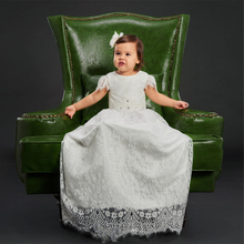 Full Lace Christening Dresses For Baby Girls Beading Baptism Gown Cheap Ivory Kid First Communication Dress with Short Sleeves(China)