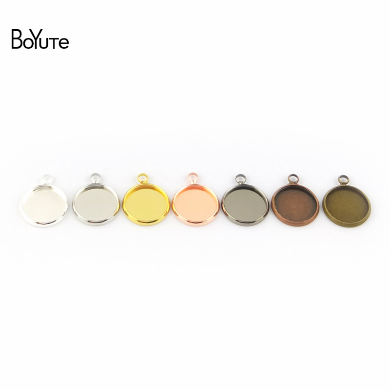 BoYuTe 50Pcs 6 Colors Plated Round 10MM 12MM 14MM 16MM 18MM 20MM 25MM Cameo Cabochon Base Diy Blank Tray Pendant Base (5)