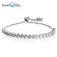 Women Tennis Bracelets Wik Round Cubic Zirconia Silver Color Adjustable Blacelets & Bangles Mother Gift (JewelOra BA101864)