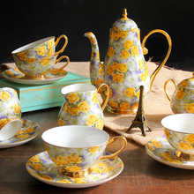 15 pcs set fashion bone china Tea Set gift regal vintage british style Ceramic Coffee Cup Set advanced gift