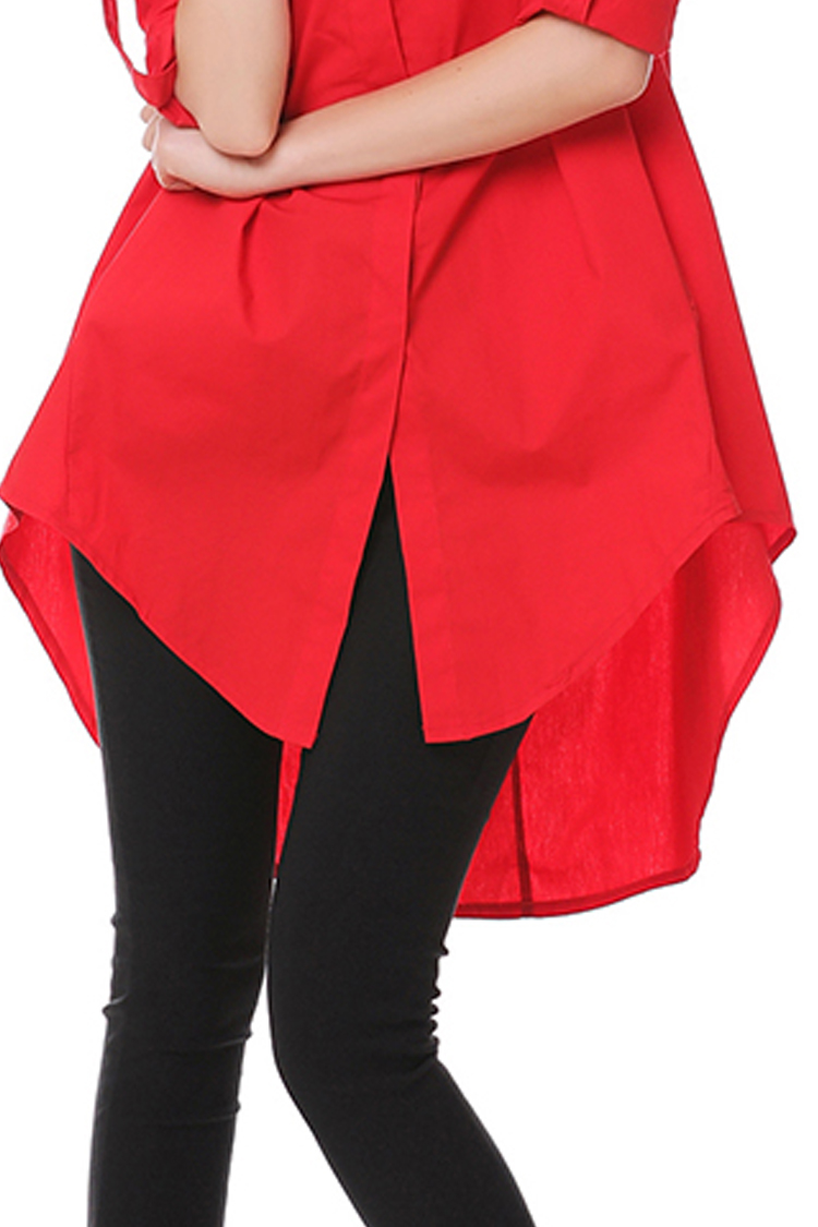 Blouses Fashion 2017 Women Summer Stand Collar Long Sleeve Red Long Shirts A Line Loose Irregular Women Tops With Pockets