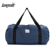 Hot Fashion Men Travel Bag Business Trip Washed Denim Large Capacity Travel Bag Women Single Beach Zipper Durable Bag
