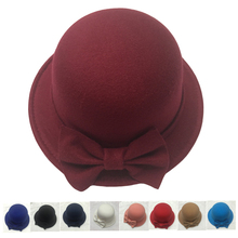 Solid bow felt-cloche-hat british cute womens fashion  ladies formal derby hats women felt fedora hat blue pink white black red