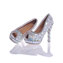Newest Designer Five Color Crystal Colorful Rhinestone Peep Toe Bridal Wedding Shoes Purple Silver Green AB Crystal Red Stiletto